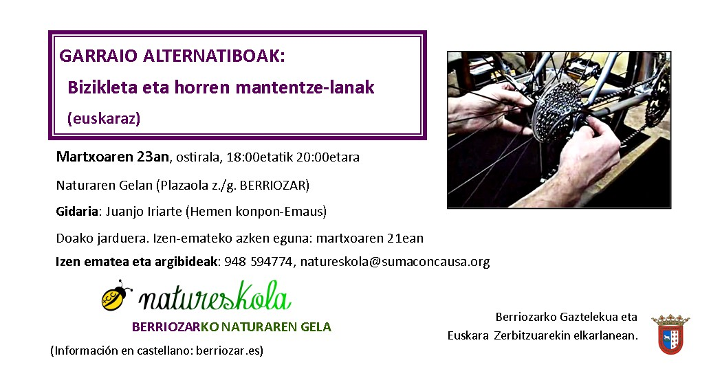 """Lantegia: """"Garraio alternatiboak: bizikletaren mantentze-lanak"""" @ Berriozarko Natureskolan"""