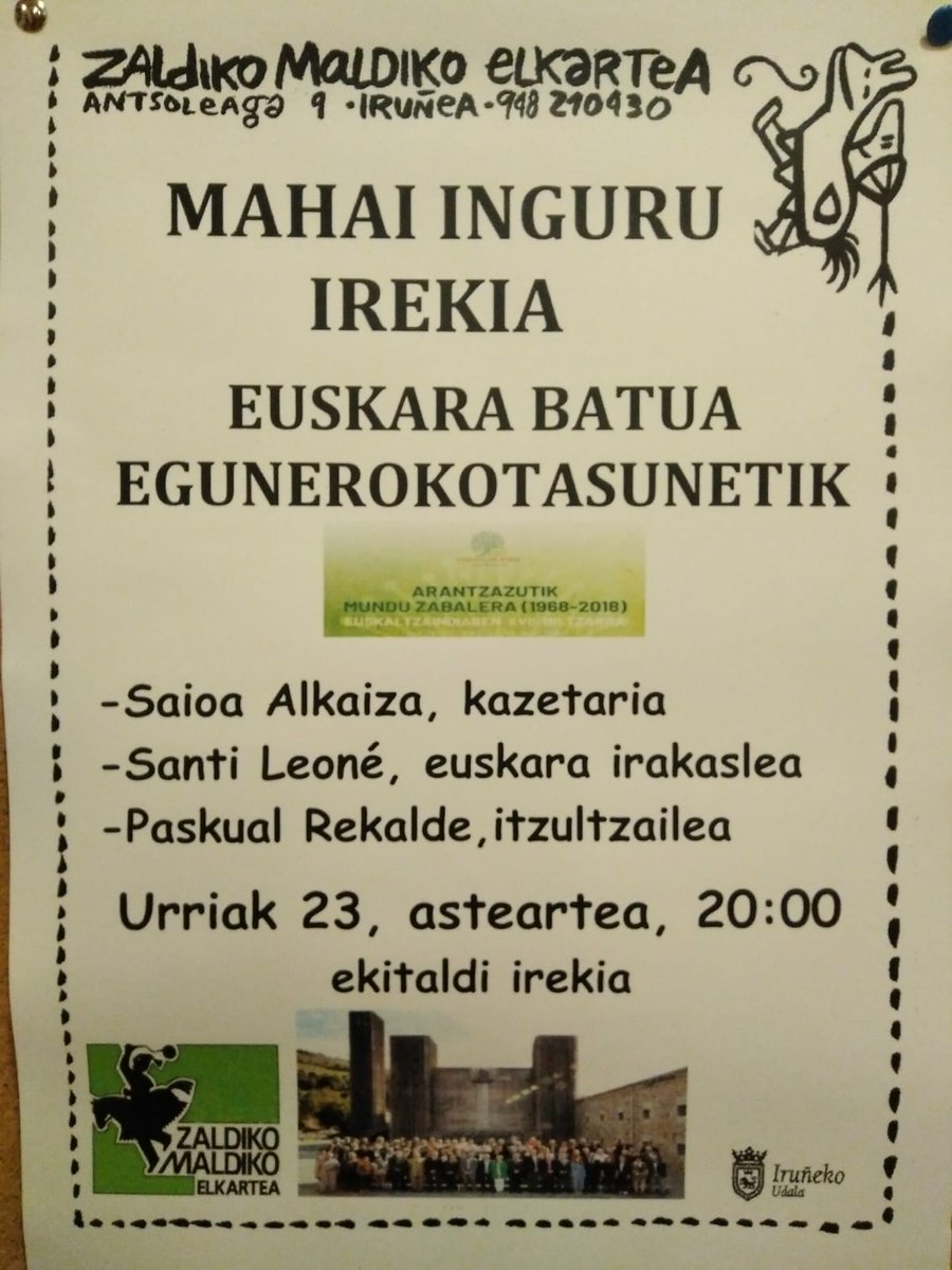 MAHAI INGURU IREKIA: EUSKARA BATUA EGUNEROKOTASUNETIK @ Zaldiko Maldiko Kultur Elkartea