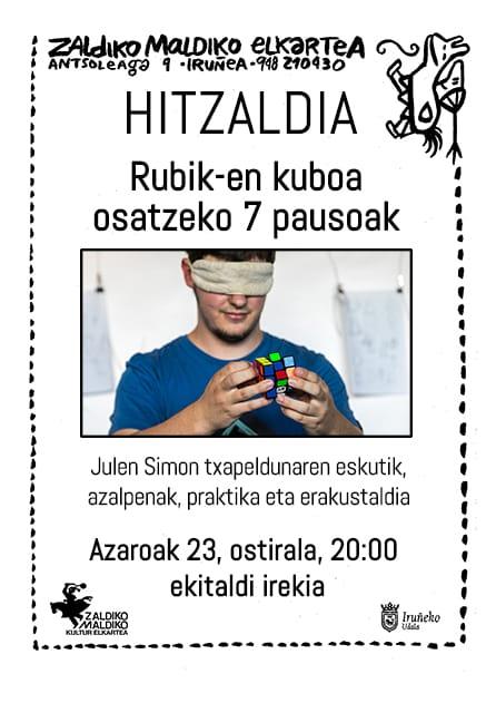 Rubik-en kuboa osatzeko 7 pausoak- Hitzaldia. @ Zaldiko Maldiko Elkartea