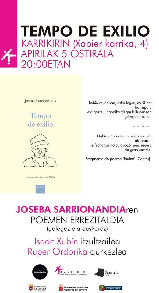 """Joseba Sarrionandiaren poemen errezitaldia. """"Tiempo de Exilio. @ Karrikiri Elkartea"""