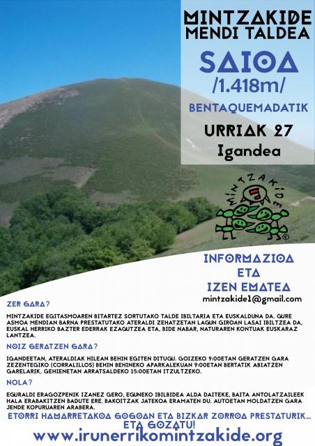 Saioa (1.418m). Mintzakide Mendi taldea